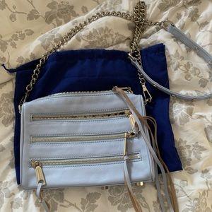 Rebecca Minkoff 5 Zip Crossbody Purse Pastel Blue